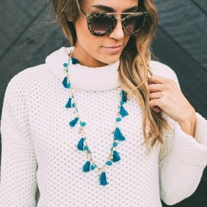 ILY Couture Blue Tassel Necklace